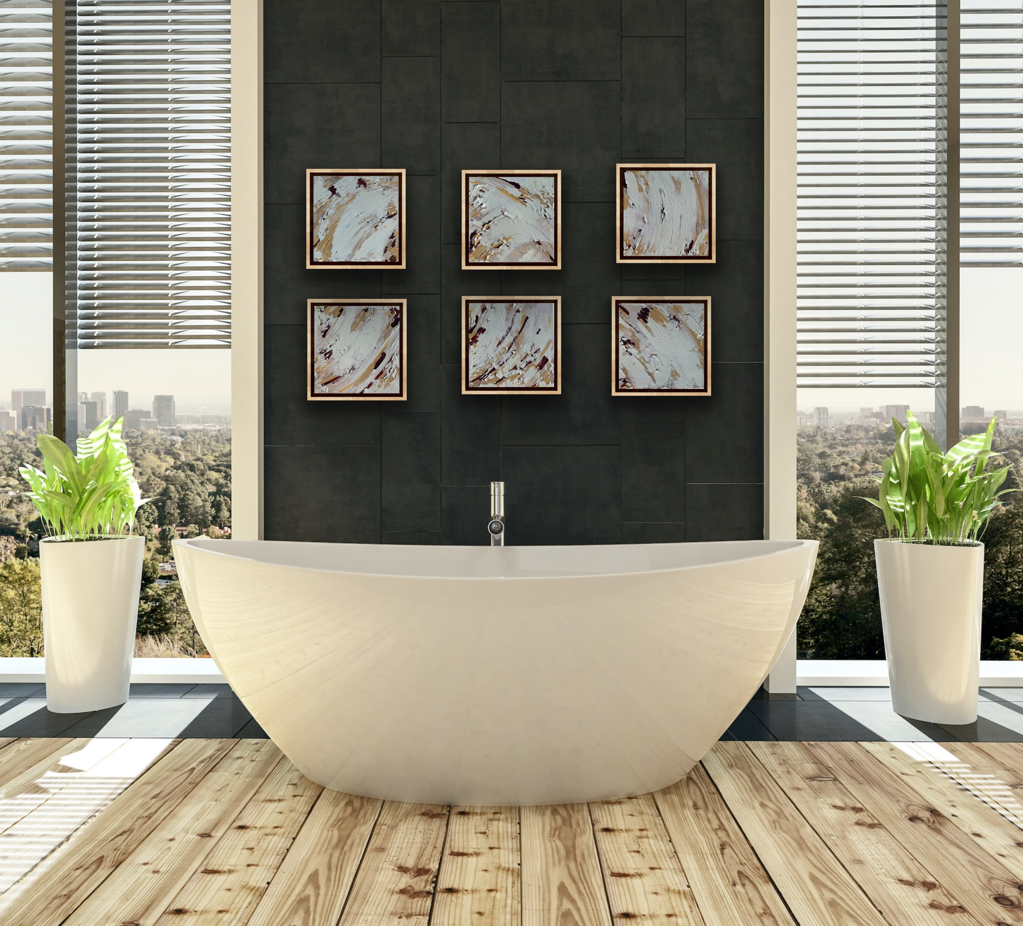 abstract art in luxury bathroom decor