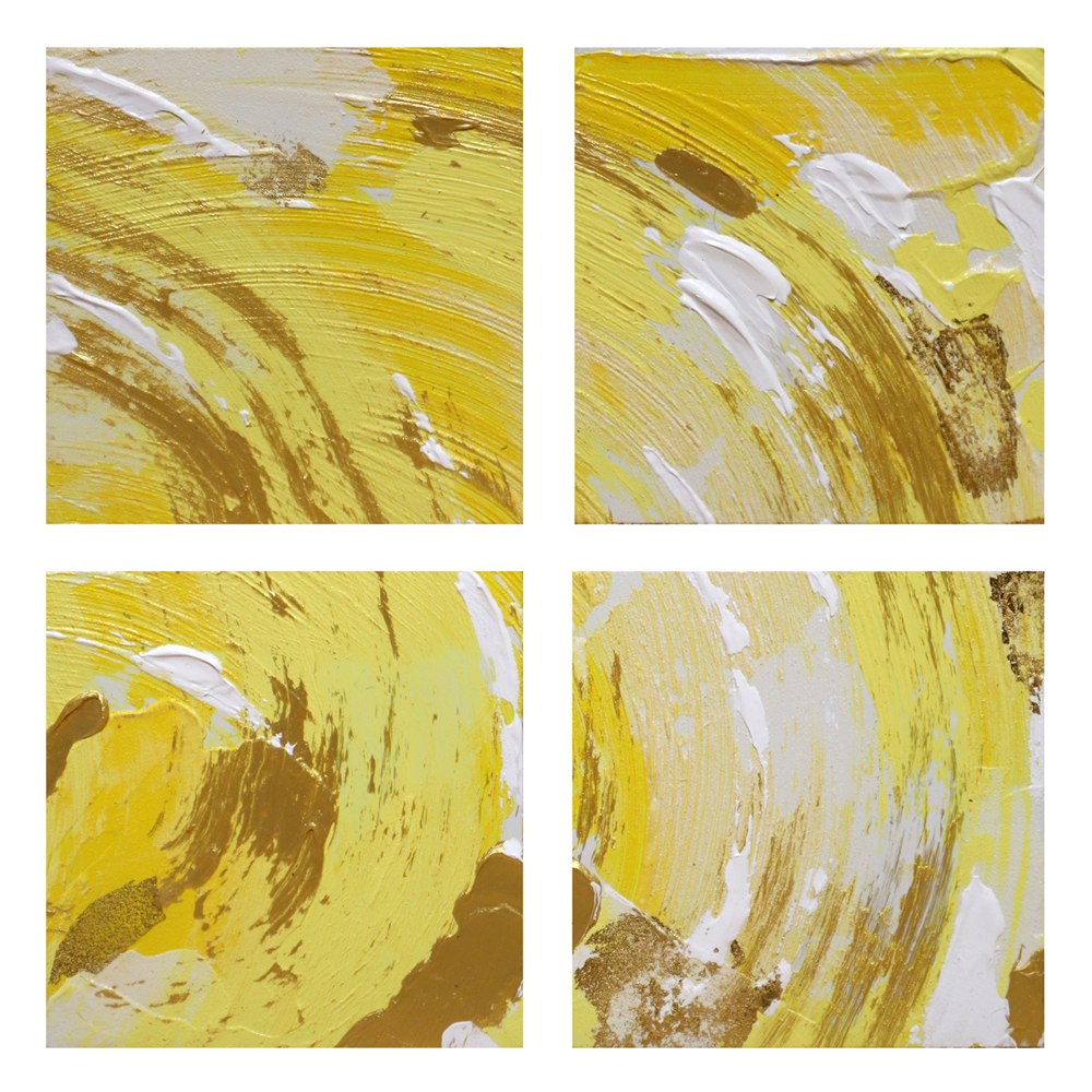 """Shine Michelle Capizzi Four 5""""w x 5""""h panels Mixed media on board (acrylic with gold leaf) $300 *pieces sold as a set, not available for sale individually"""